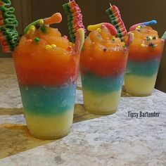 Candy Land (1 oz White Rum 1/2 oz Fruit Punch Vodka 1/2 oz Vodka 1 oz Watermelon Vodka 1 1/2 oz Midori 1 1/2 oz Sweet & Sour 1 oz Sour Apple Pucker 2 oz Strawberry Daquiri Mix 2 oz Mango Margarita Mix Candy)