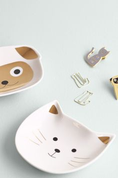 Pug and cat jewellery dishes