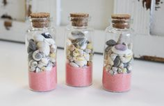 """Glass BEACH BOTTLES filled with CORAL SAND and SEASHELLS measure 3""""h x 1 1/3"""" each and comes with a cork topper. Perfect for party favors and coastal weddings, choose from a variety of colors to match your theme. Comes boxed with 24 bottles of the same sand color. Only $2.00 each."""