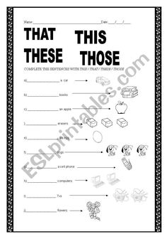 demonstrative pronouns - ESL worksheet by chris. Pre K Math Worksheets, Demonstrative Pronouns, Kindergarten Reading, English Lessons, Teaching English, Esl, Sentences, Middle School, Names