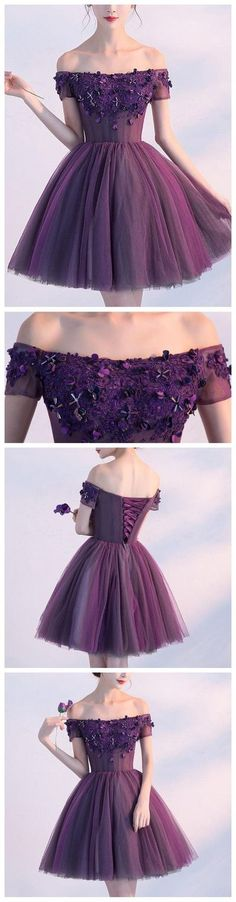 A-line Off-the-shoulder Tulle Homecoming Dress Short Prom Dress,Purple Homecoming Dress,Cheap Formal Dress,MB 66