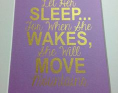 """Baby girl nursery gold quote print """"Let her sleep"""" 5x7 Gold on lilac"""