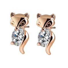 Rose Gold or Silver & Crystal Fox Stud Earrings