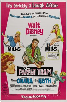 The Parent Trap is a 1961 Walt Disney film. It stars Hayley Mills Maureen O'Hara and Brian Keith in a story about teenage twins and their divorced parents. Disney Movie Posters, Old Movie Posters, Classic Movie Posters, Disney Films, Classic Movies, Disney Wiki, Room Posters, Music Posters, Old Movies