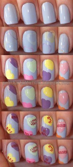 DIY - Candy Heart Nail Art Tutorial.
