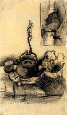 Kettle Over a Fire, and a Cottage by Night, 1885, Vincent van Gogh Medium: chalk on paper