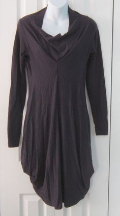 Veronique Miljkovitch Deep Purple Cotton Blend Avant Guarde Sweater Dress XS #VeroniqueMiljkovitch #AsymmetricalHem #Casual