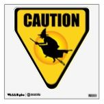 Hallloween Caution Witch Sign Wall Decal