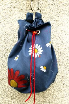 Items similar to Boho Hand painted Vegan Blue Daisy Shoulder Bag on Etsy Blue Daisy, Unique Bags, Bucket Bag, Trending Outfits, Unique Jewelry, Handmade Gifts, How To Wear, Etsy, Vintage