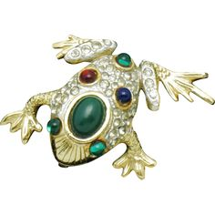 Whimsical  designer SPHINX figural frog brooch or pin.  The pin is hallmarked with the numbers 2768 http://www.rubylane.com/shop/atouchofrosevintagejewels