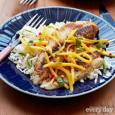 Flounder with Coconut-Ginger Rice & Mango Salsa