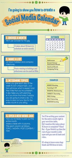 How to create a social media calendar 101 #socialmediamarketing #organize #infografía