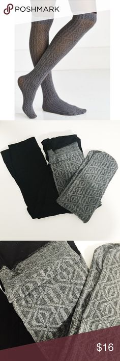 NWT Gray and Black Tights Urban Outfitters Love these tights! I have them in another color so I don't need these. Looks like you're wearing over the knee socks. Super cute. Urban Outfitters Accessories Hosiery & Socks