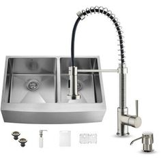 Vigo All-in-One 36 inch Farmhouse Stainless Steel Double Bowl Kitchen Sink and Faucet Set, Silver