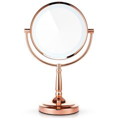 Miusco 1X 7X Magnification Two Sided Adjustable Warm LED Lighted Makeup Mirror, 8 inch, Rose Gold - Sears