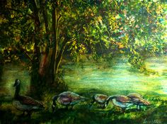 Canadian Geese Original Painting Watercolor and Pastel