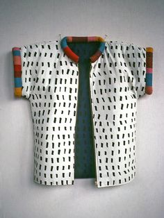Jun Kaneko, 1979 Saved for the idea Textiles, Mode Kimono, Kimono Jacket, Mode Inspiration, Dressmaking, Wearable Art, Streetwear, What To Wear, Style Me
