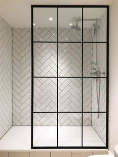 I'm in love with the herringbone tile and the amazing crittall shower screen from Creative Glass Studio in London Bathroom Tile Inspiration, Shower Room, Bathroom Interior, Modern Bathroom, Mosaic Bathroom, Bathrooms Remodel, Bathroom Decor, Beautiful Bathrooms, Glass Shower Doors Frameless