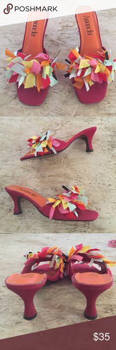 "NWOT Amanda Fiesta Heeled Sandals. Size 9W NWOT Amanda Fiesta Heeled Sandals. Size 9W. Stock No. 43-9599-1. Size 9 Wide.  2 1/2"" heel height. Amanda Shoes Mules & Clogs"
