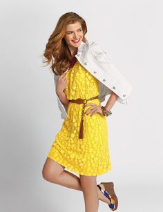 Belted Circle Pattern Lace Dress -- I usually don't like yellow, but this dress is adorable!