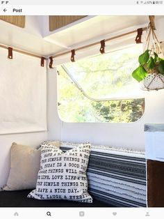 Finally got the blinds in the caravan finished, hooray! Custom roll up light weight cotton canvas that beautifully filters the light while… Campervan Curtains, Caravan Curtains, Diy Caravan, Roll Up Curtains, Diy Curtains, Curtains With Blinds, Camper Blinds, Camper Windows, Caravan Makeover