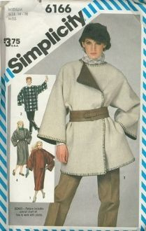 An original ca. 1983 Simplicity Pattern 6166.  Misses Unlined Blanket Coat or Jacket: Easy to sew loose-fitting boxy coat or jacket has dropped armholes, extended shoulders and full sleeves. Top-stitched coat V. 1 has attached scarf that slips through opening. Self fringed front jacket V. 2 and trimmed coat V. 4 have button closing. Jacket V. 3 has yarn blanket stitched edges.