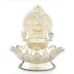 Diya Collections | Silver kamatchi Aamman Diya on Lotus | GRT Jewellers