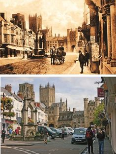 Wells, Somerset in 1906 and as it looks today. Perhaps now best known for its starring role as the sleepy fictional town of Sandford in the 2007 'Hot Fuzz' London History, Local History, History Books, Uk History, Live In The Now, Back In The Day, Then And Now Photos, Past Life, Photo S