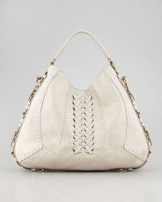 Fergie Braided Leather Gancini Hobo Bag, Clay by Salvatore Ferragamo at Neiman Marcus.