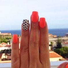35+Neon+orange+nail+art+design