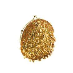 Shimmering Gold Round Teardrop Sequin Clutch