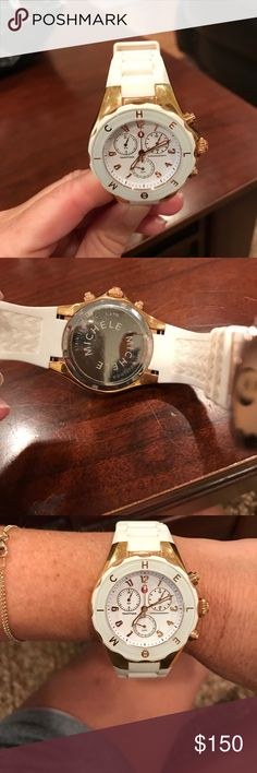 Michele watch Authentic rose gold n white rubber watch Michele Jewelry