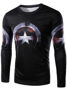 1d41093046a Shop for Black L 3D Captain America Shield Print Character T-Shirt online at   6.99