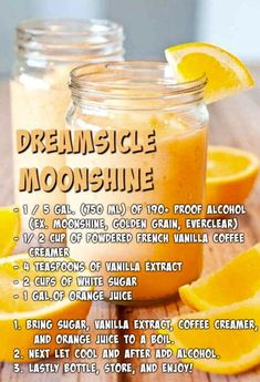 Dreamscicle Moonshine 🍺 I wonder if this is as good as the orange beer drink thing at Longhorn. Homemade Alcohol, Homemade Liquor, Homemade Liqueur Recipes, Alcohol Drink Recipes, Wine Recipes, Whiskey Recipes, Homebrew Recipes, Liquor Drinks, Alcoholic Drinks
