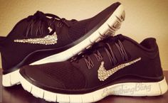 official photos 2d0e9 3c85c Over Half Off New NIKE Free 5.0 Run Shoes w Swarovski Crystal Detail Coal  Black White