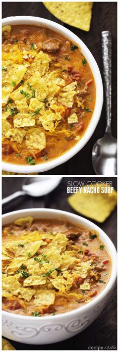 Slow Cooker Beefy Nacho Soup INGREDIENTS 1 lb lean ground beef 1 package taco seasoning 1 small onion, chopped 1 clove garlic, minced 1 can (10¾ ounce) condensed nacho cheese soup (cheddar soup wil… Taco Mince Recipe, Mince Recipes, Mexican Food Recipes, Crockpot Recipes, Cooking Recipes, Ethnic Recipes, Budget Recipes, Cheddar Cheese Soup, Nacho Cheese Soup Recipe