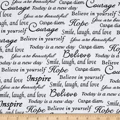 Words and phrases to uplift and inspire are captured on this black and white backing fabric from Whistler Studios' Sew Hope Full quilting fabric collection for Windham Fabrics. Black And White Quilts, Black And White Design, Black White, Today Is A New Day, Keepsake Quilting, Words Of Hope, Windham Fabrics, Name Design, Diy Hair Bows