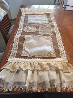 Burlap lace and antique doilies table runner