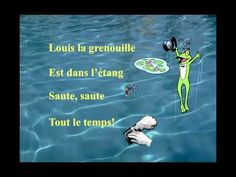 """Louis la grenouille"" from Matt Maxwell's CD for students of French ""Le Loup du Nord""--a song that tells the story of a frog named Louis who takes a cute girl frog to watch the sunset.  (And that's it--not a lot happens in this three-minute song.)  The simple video provides clear illustrations of the key vocabulary with onscreen lyrics."