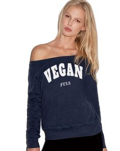 Off the Shoulder Navy Triblend Fleece Sweatshirt - VEGAN For The Love of Animals by FTLA Apparel