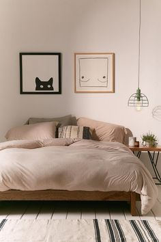 Neutral colored bedroom. Two medium framed illustrations, posters or art photos for and instant decor. Are you looking for unique and beautiful art photo prints to create your gallery wall... Visit bx3foto.etsy.com