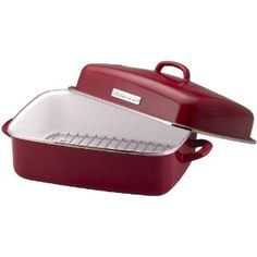 KitchenAid Porcelain Enamel Covered Dome Roaster in red - beautiful! $69.99 @ Amazon