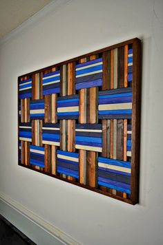 wooden wall art Grecian Weave wood wall art por StainsAndGrains