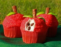 Apple Cupcakes!!  Cute for teachers.
