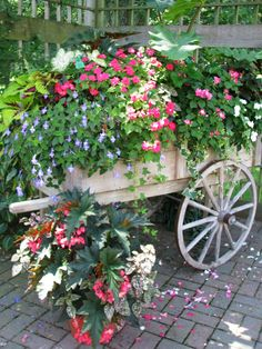 Flower Cart | by Cher12861 (Cheryl Kelly on ipernity) Container Flowers, Flower Planters, Garden Planters, Garden Wagon, Garden Cart, Flower Dance, Flower Cart, Front Yard Landscaping, Amazing Gardens