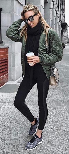 fall fashion trends | bomber + scarf + bag + skinnies + sneakers