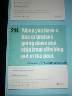 Haha totally cute & when you explain how they happen you get weird looks from non-swimmers