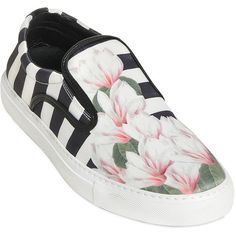 Mother Of Pearl Women Stripe & Floral Satin Slip On Sneakers ($285) ❤ liked on Polyvore featuring shoes, sneakers, flats, flat slip on shoes, satin flats, floral print sneakers, slip on flats and flat pumps