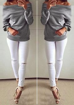 This grey boat-neck off-shoulder sweatshirt is definitely one you'll include in your favorite fall pieces.