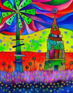"""Windmills Field"" by Carolina Coto. You can see  more at www.carocoto.com and www.facebook.com/ArteCarolinaCoto"